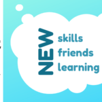 """White Cloud on Blue Background, inside the cloud is the text, """"New Skills, Friends, Learning""""."""